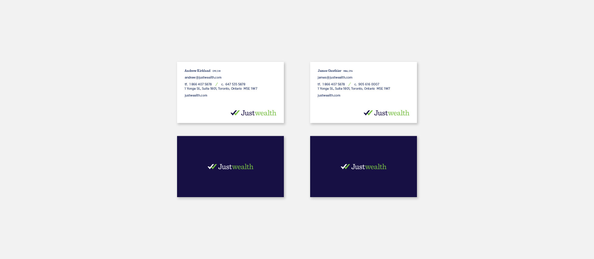 Justwealth Busines Card Design