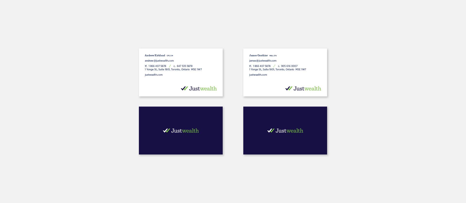 Justwealth Busines Card Design