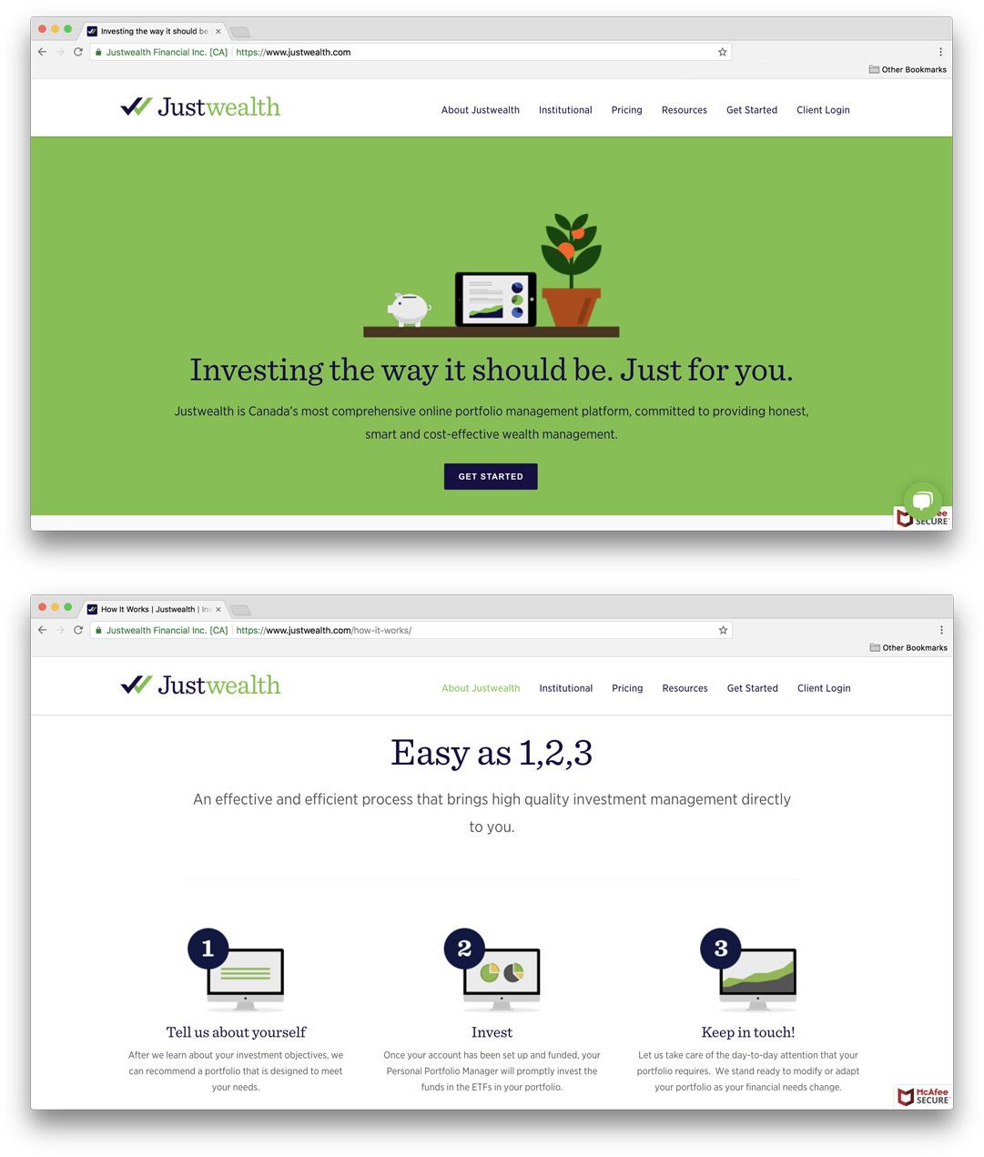 Justwealth website images